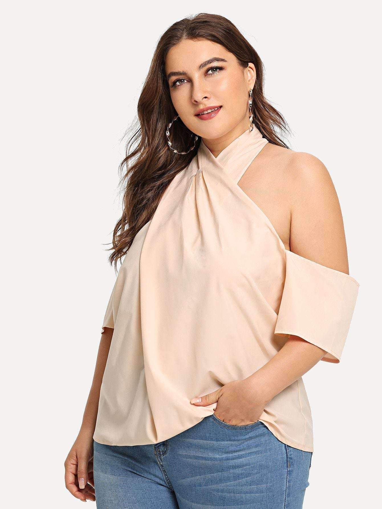 3fc591c337cf8 Get comfy now - and never pay too much again! Open Shoulder Cross Halter  Blouse