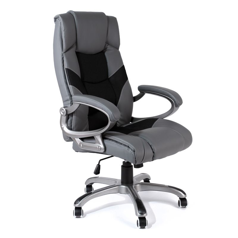 Executive Office Chair Racing Style Leather Grey Black Swivel Computer Gaming High Back Furniture Ergonomic