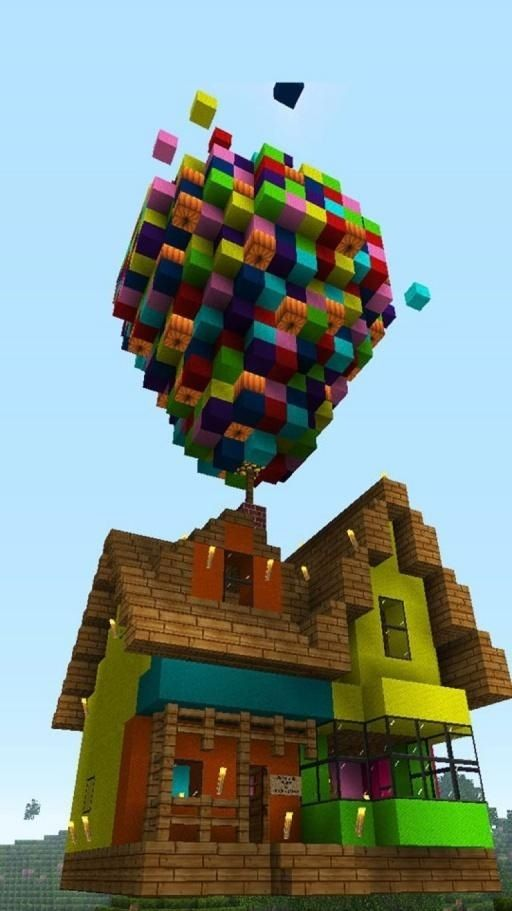 Minecraft Rainbow Sky Waterfall House | Minecraft Creations ...