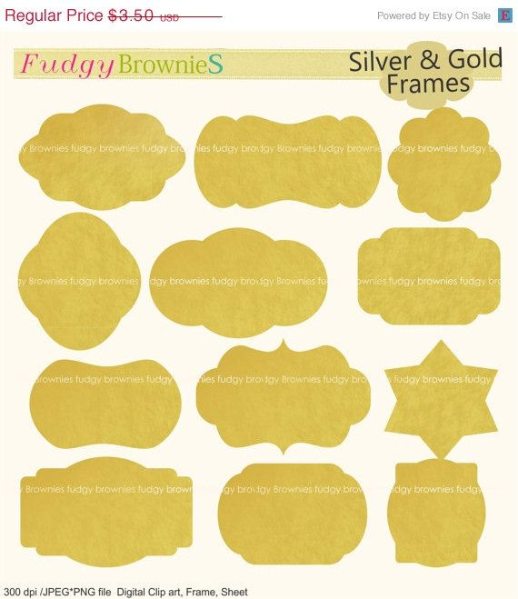 ON SALE Gold Frames Clipart Foil ClipartBracket Frame A 156Gold Bracket Label Scrapbooking