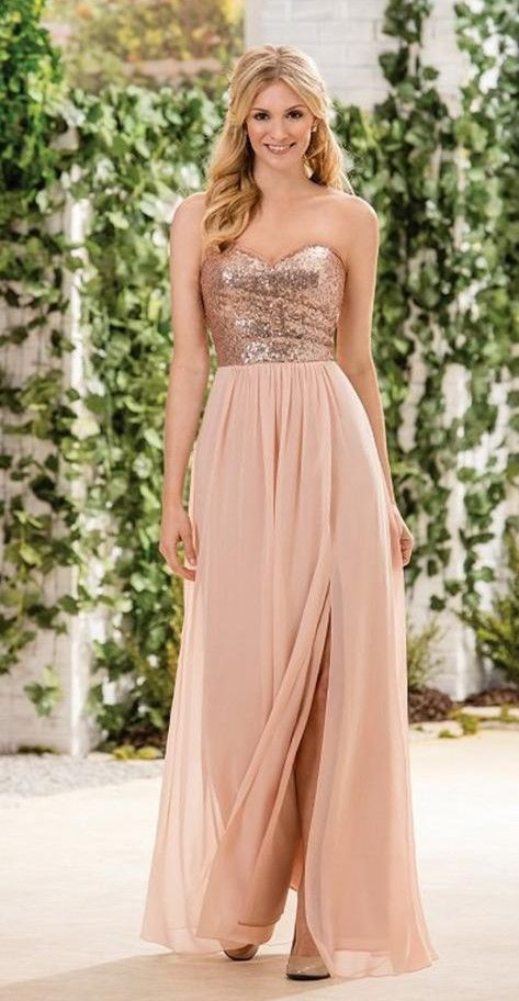 4bf69d518b64 2016 Long Blush Color Bridesmaid Dresses with Sparkly Strapless Sequined Top  Slit Skirt Rustic Bridal Party Gowns Cheap Maid of Honor Wear