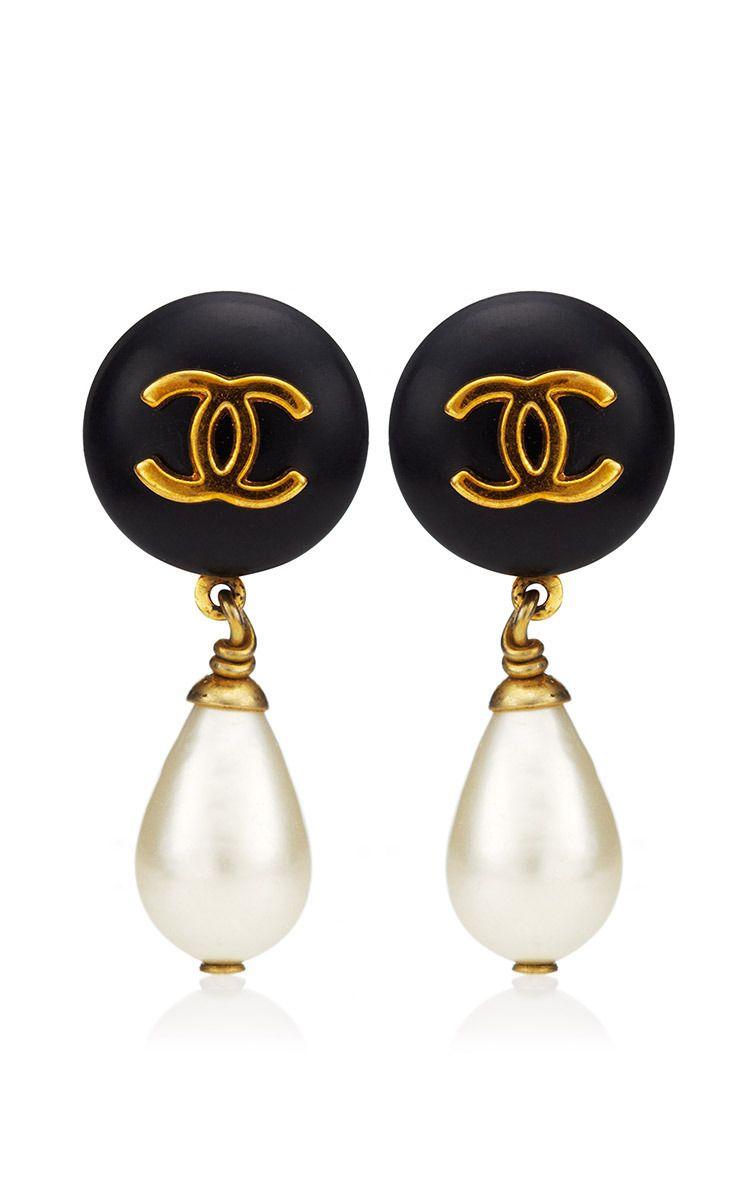Chanel Logo Pearl Drops