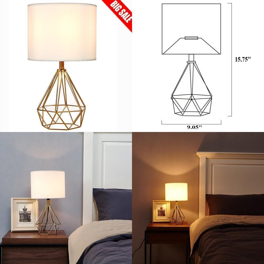 Details about Modern Desk Lamp Beside Table Lamps for Bedroom, White ...