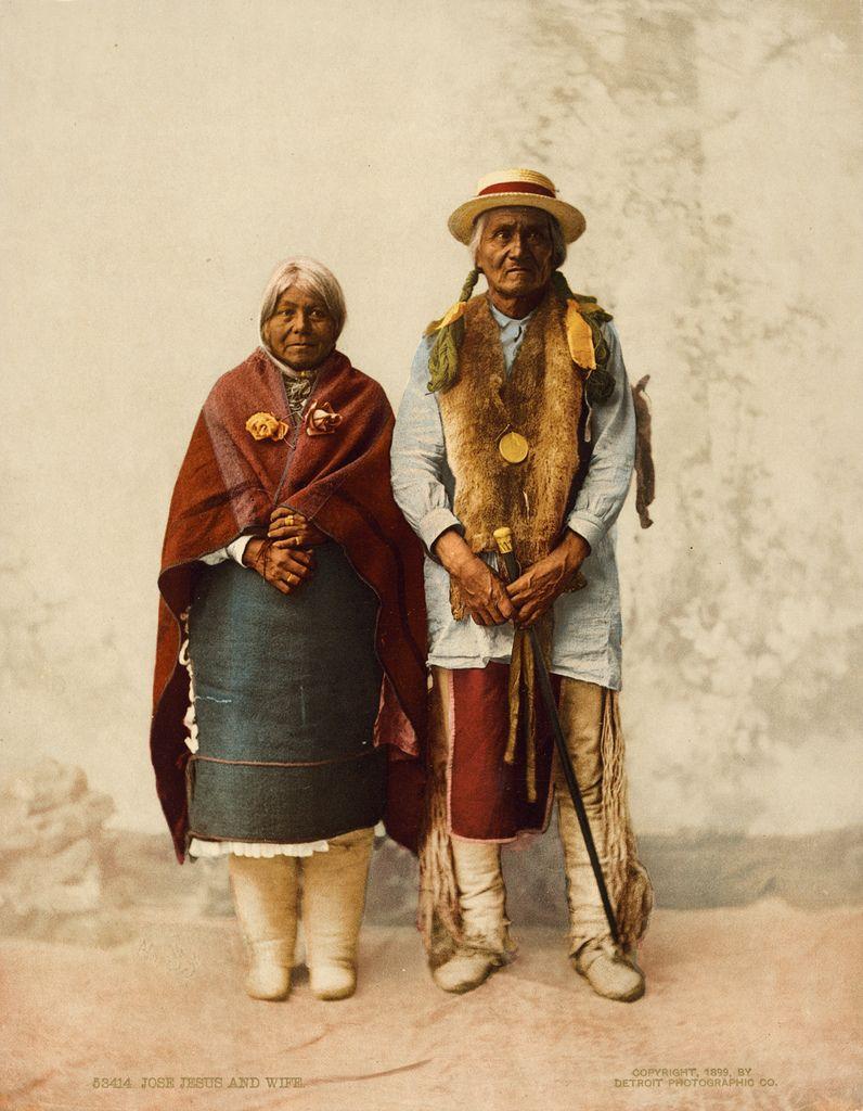 Jose Jesus Narango, governor of Santa Clara Pueblo, and wife, ca. 1899