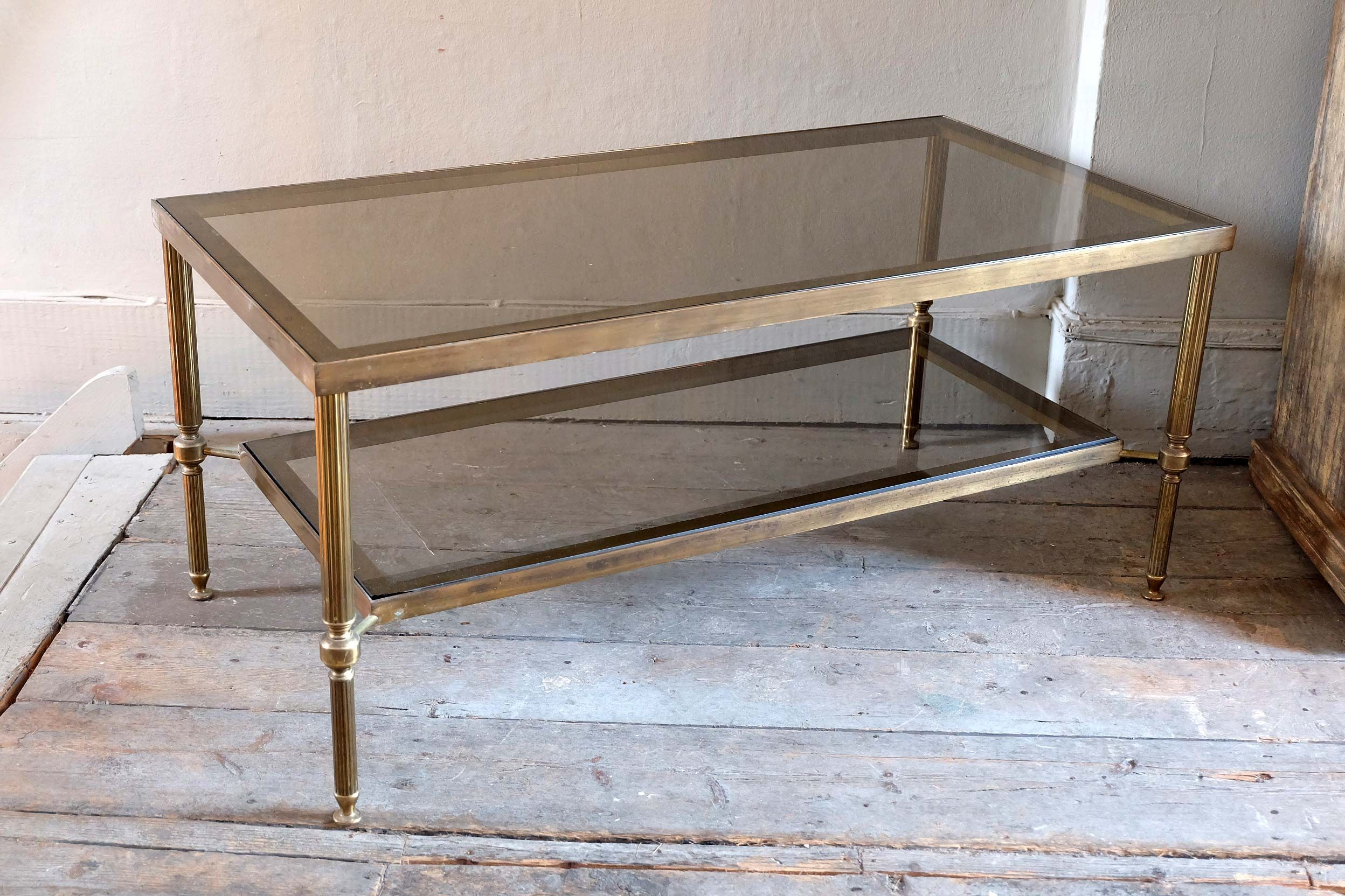 Two Tier Glass Brass Coffee Table