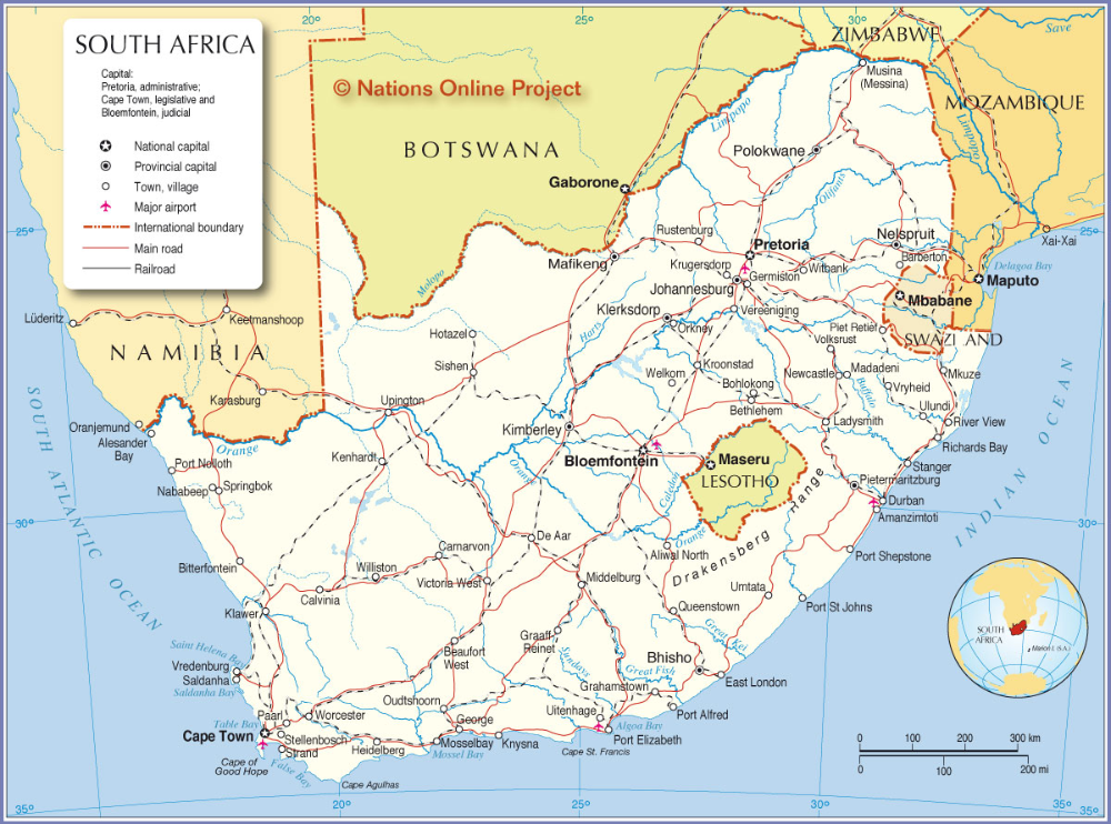 South Africa Map World Map Of South Africa South Africa Map South Africa Africa Map