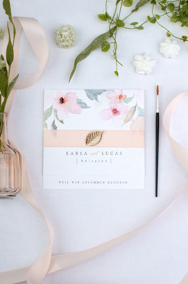 Hochzeitskarten Aquarell Mit Bluten Und Blumen In Rosa Apricot Und
