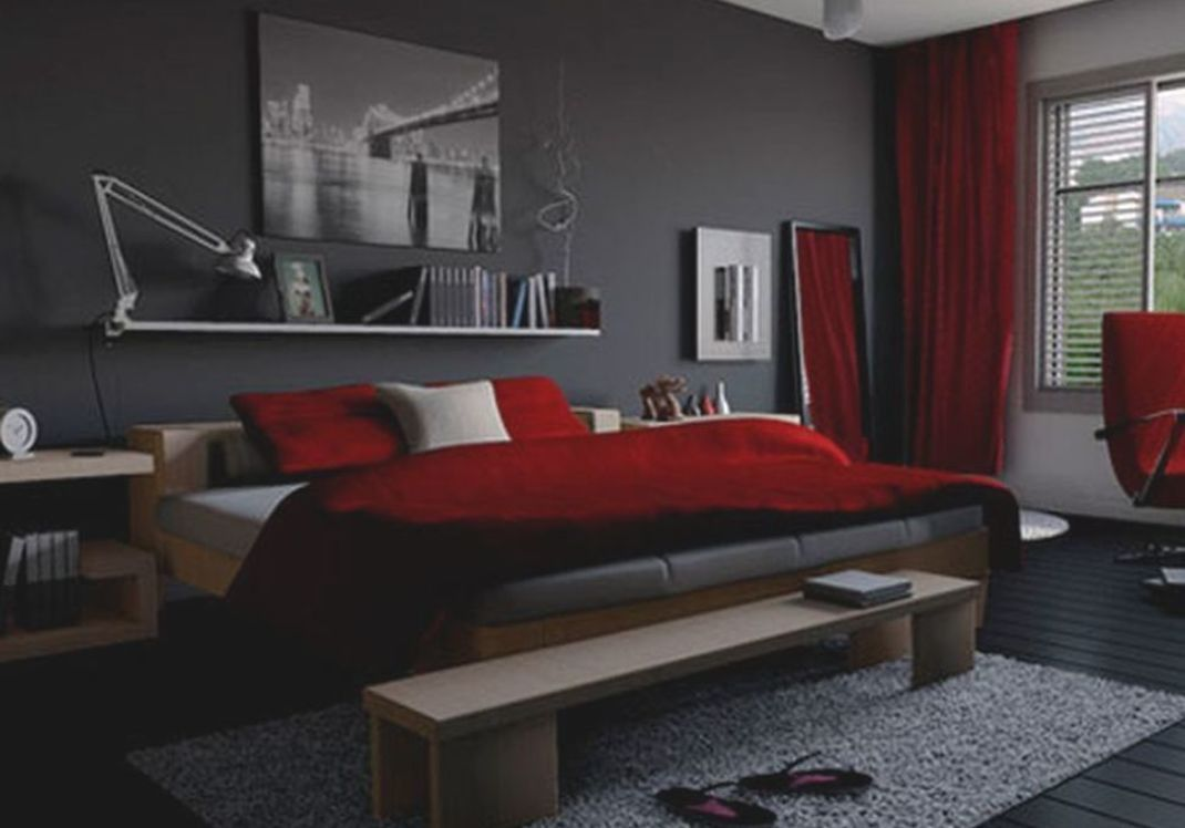 Top Black And Red Bedroom Interior Designs For More Enchanting Black Bedroom Decor Grey Bedroom With Pop Of Color Black And Grey Bedroom