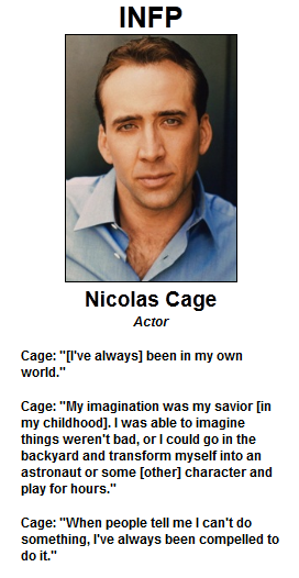 Famous Male Infp Nicolas Cage Actor Infp Personality Type Infp Personality Infp
