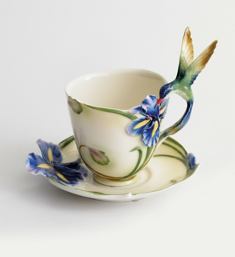 ✿Cup & Saucer✿ FRANZ PORCELAIN LONG TAIL HUMMINGBIRD