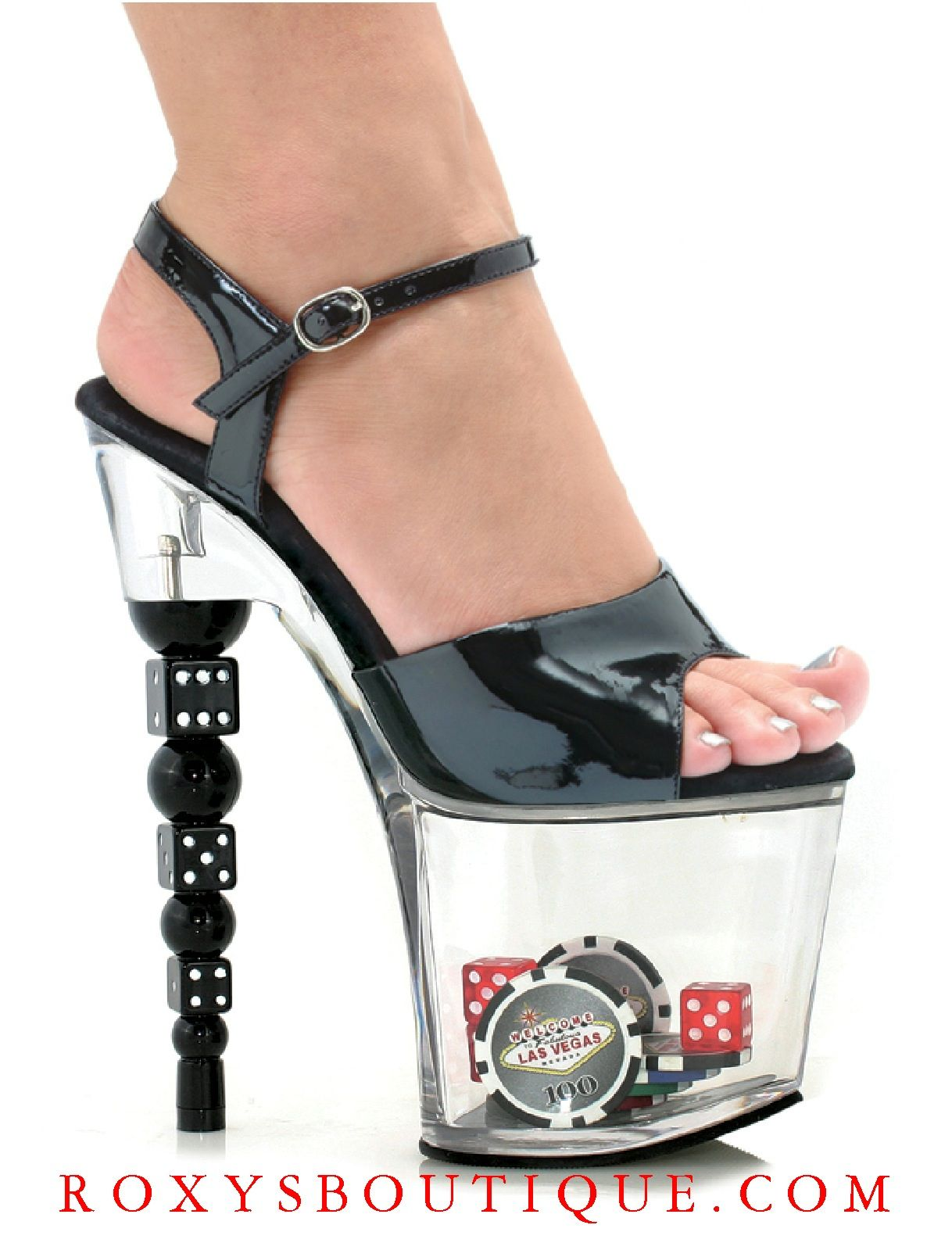 Black Sandals With Poker Chips And Dice In 3 Inch Clear Platforms