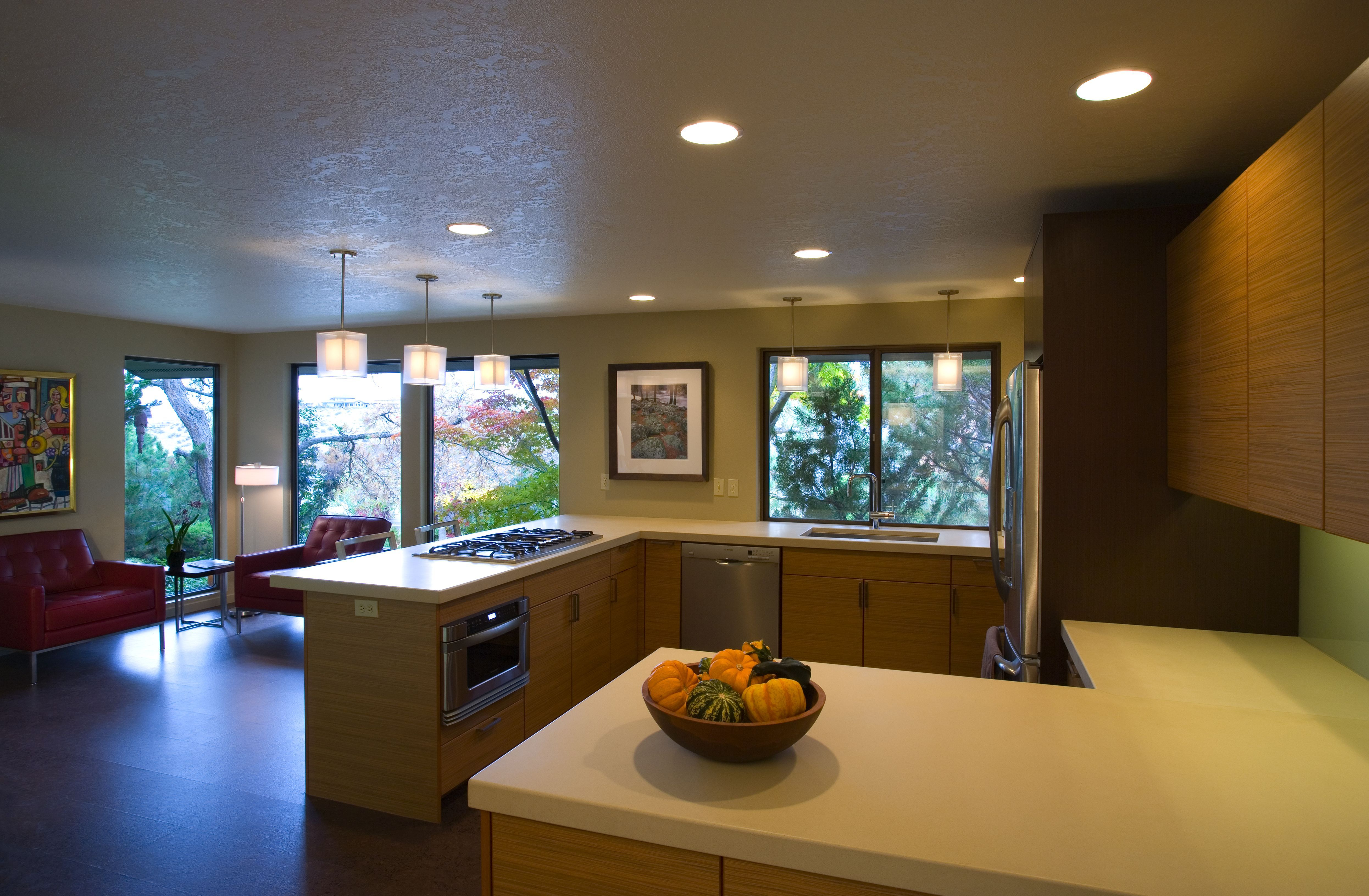 Contemporary #kitchen #remodel With #teak #veneer #cabinets And  #caesarstone Counter