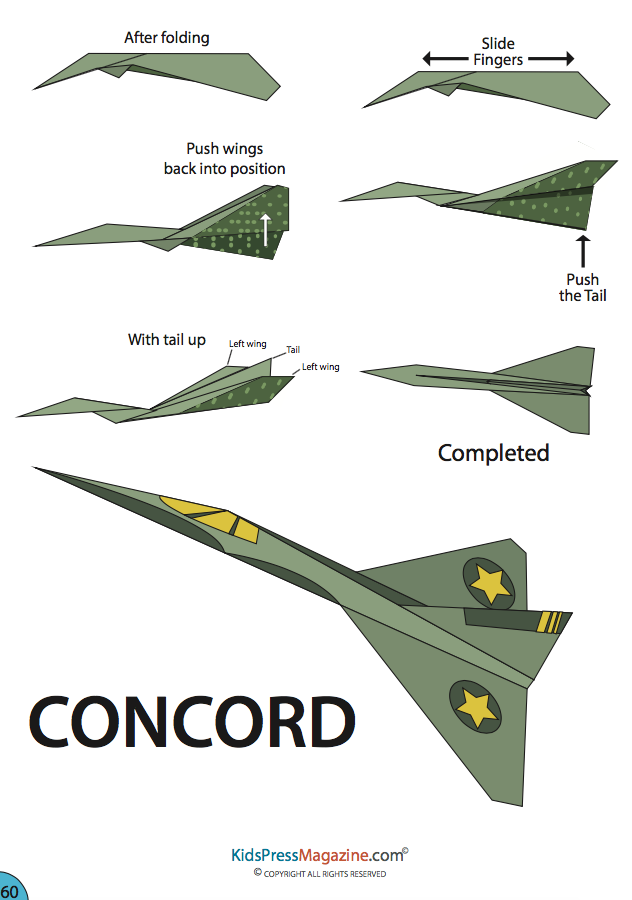 Army Planes And Military Fans This Is A Paper Plane To Make Easy Step By Instructions Of CONCORD Take It Away Airplanes Concord