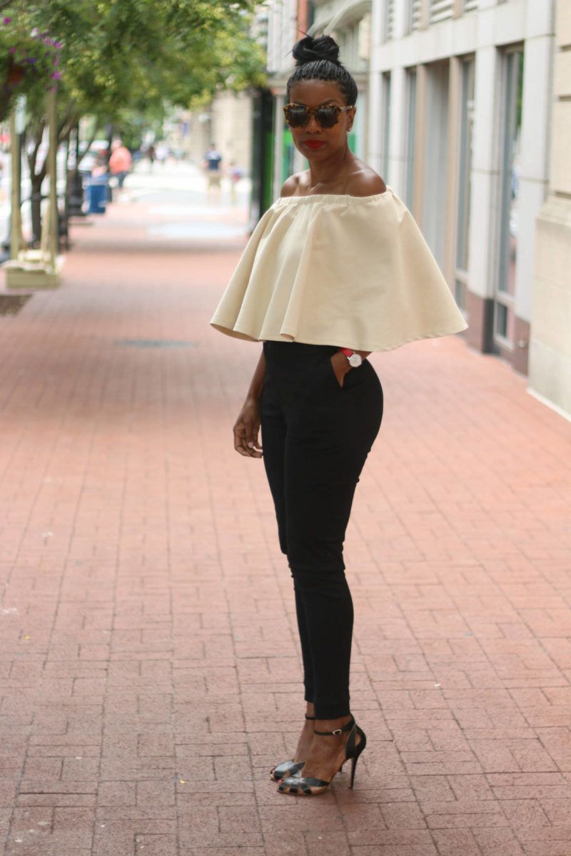 DIY off the shoulder circle top and high waist cigarette pants ... 48c35376d