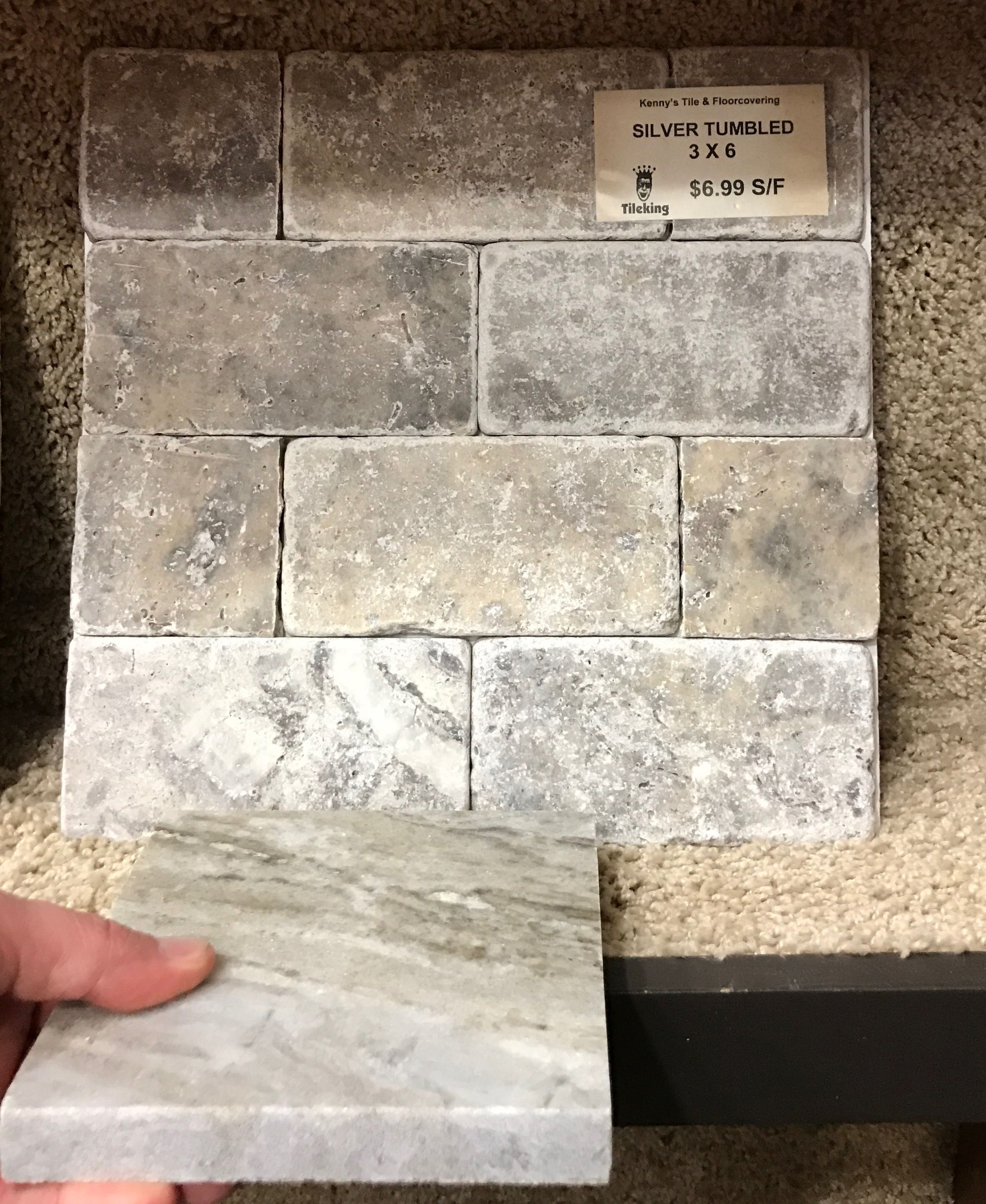 Fantasy brown marble with silver tumbled travertine