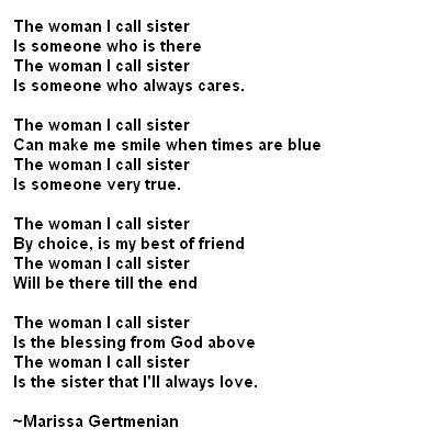 Quotes About Big Sisters | Poems: sister poem from brother or sister