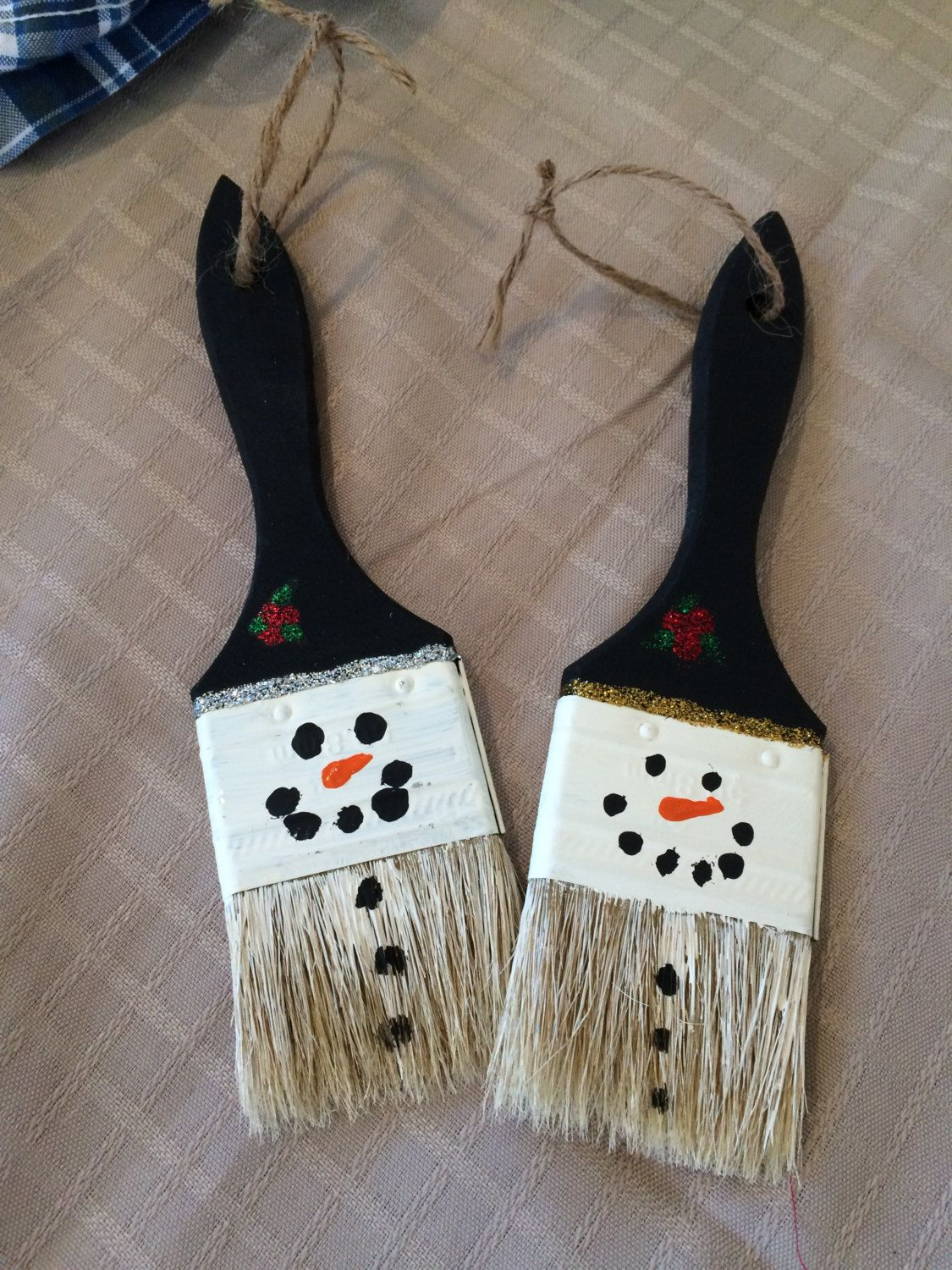 3 Brush Snowman ornaments by SweetiePsCrafts on Etsy