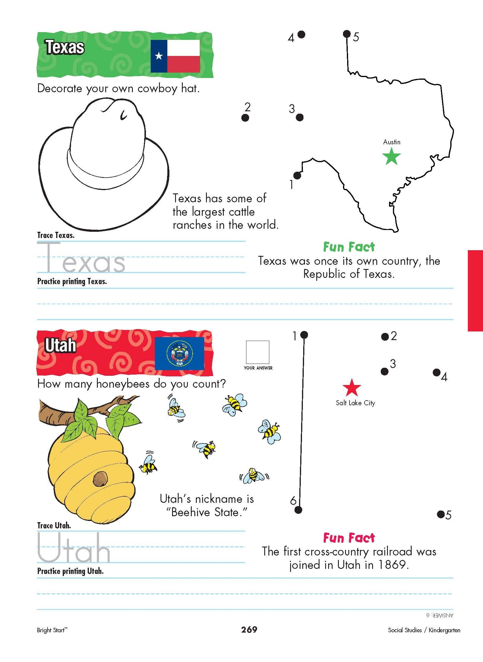 Texas And Utah Your Kindergartener Can Practice Writing The State Name And Learn The State