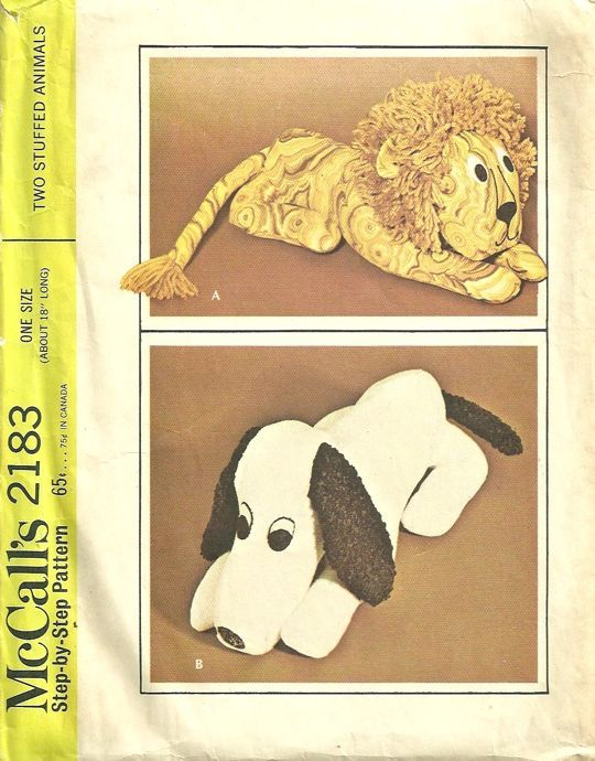 McCalls 2183 1960s Snoopy Beagle Dog and Lion Pattern Vintage ...