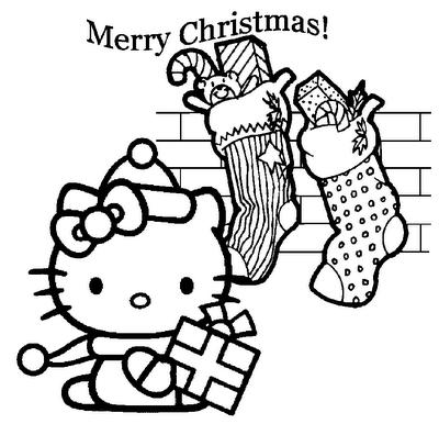 christmas coloring pages printable Hello Kitty Christmas coloring