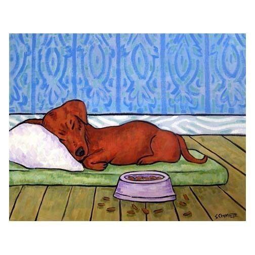 Dachshund Sleeping On A Dog Bed Art Print By Lulunjay On Etsy 17 99 Dog Print Art Dachshund Art Dachshund Print