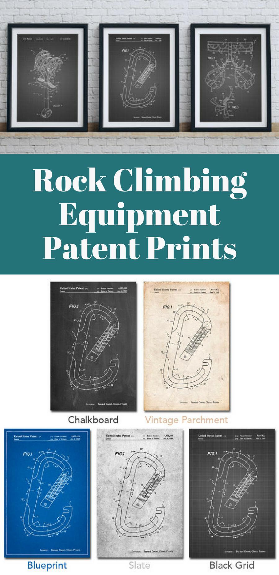 Rock Climbing Equipment Patent Prints Outdoors Prints Rock