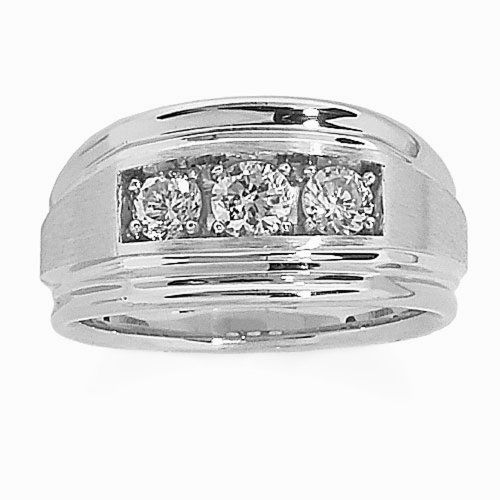 Sterling Silver Comfort Fit 3-Stone Cubic Zirconia Wedding Band, (1 cttw), Size 10 -  Product Features  Made in United States