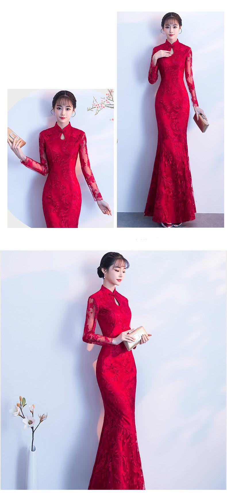 Dw013 Women Red Dresses Long Sleeve Evening Dress Long Lace Cheongsam Wedding Chinese Qipao Elegant Bride Dress From Yivanca 106 54 Dhgate Com Red Chinese Wedding Dress Lace Evening Dress Long Red [ 1713 x 790 Pixel ]