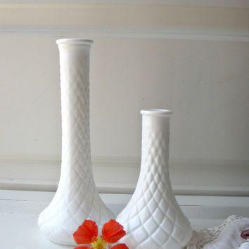 Vintage Milk Glass Vase Set Of 2 Two Bud Vases Hoosier French