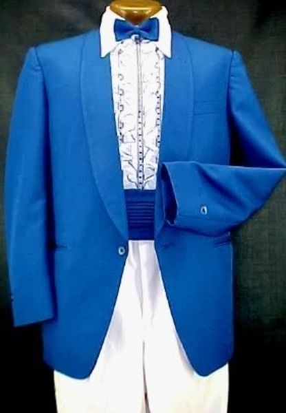 809b591cb VINTAGE MIAMI VICE ROYAL BLUE MENS TUXEDO JACKET or 4pc TUX RETRO ...