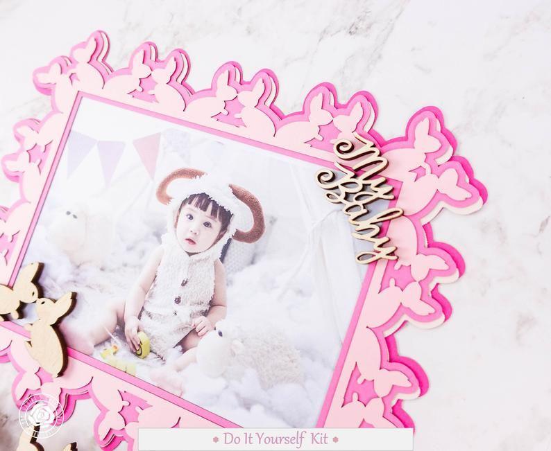 Personalized Diy Scrapbook Kit Diy Baby Girl Frame Kit Diy