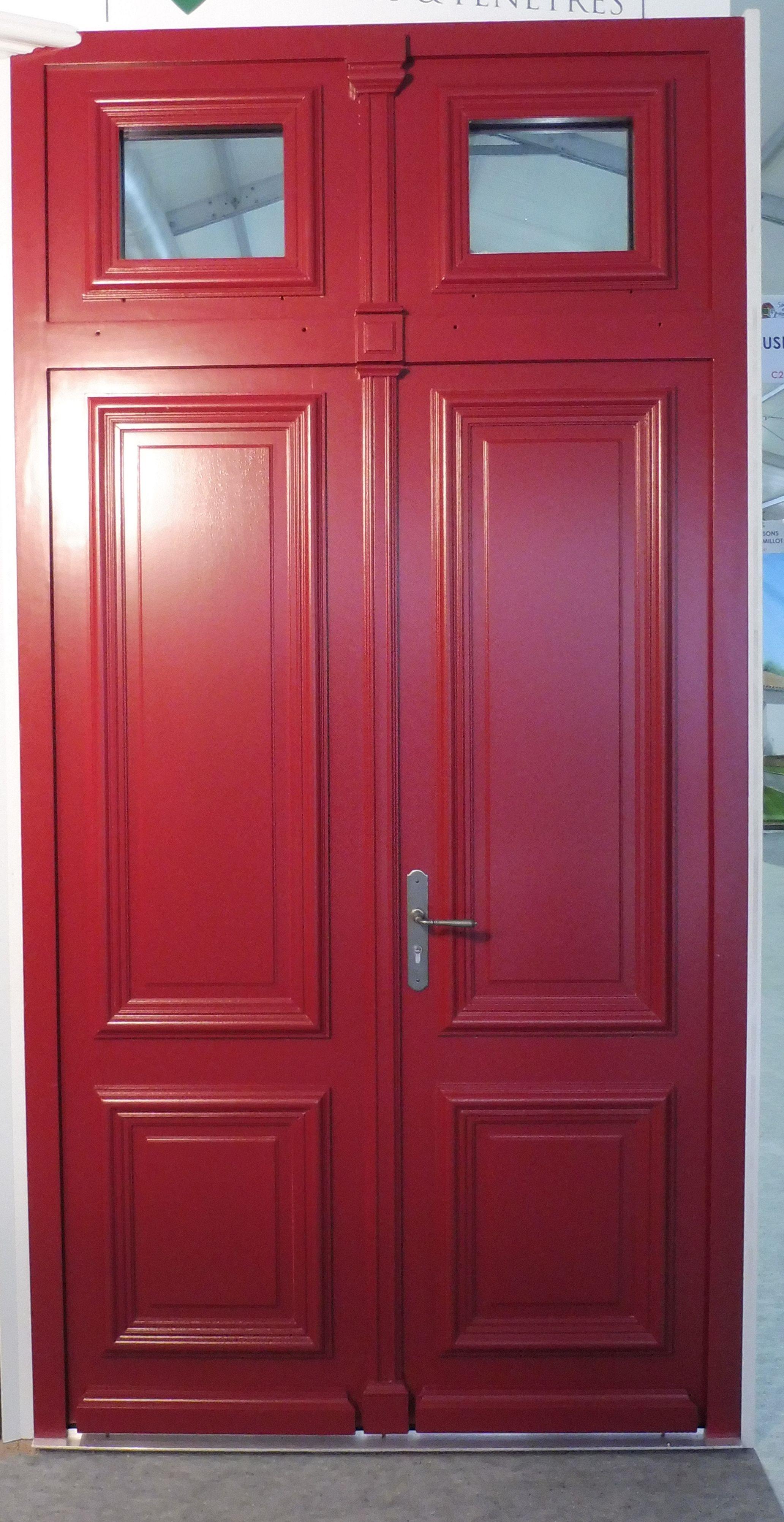Porte d 39 entr e 2 vantaux avec imposte vitr e avec finition laqu e ral 3004 rouge pourpre - Porte d entree 2 vantaux tierces ...