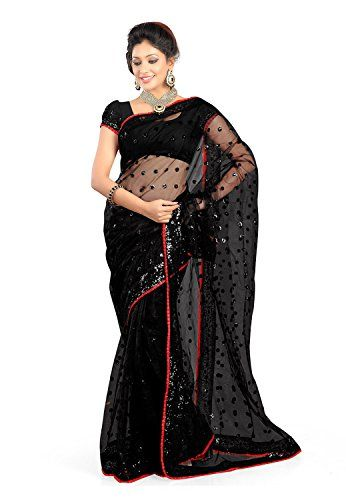 14a15be2f2bc12 Look Fabulous And Stylish By Wearing This Black Color Saree For Women In  Net Fabric With Unstitched Blouse Piece. A Fabric Is Very Soft And Shines.