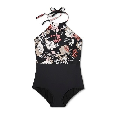 9db02600f Sea Angel Women s Plus Size Floral High Neck One Piece Swimsuit - Black 1X