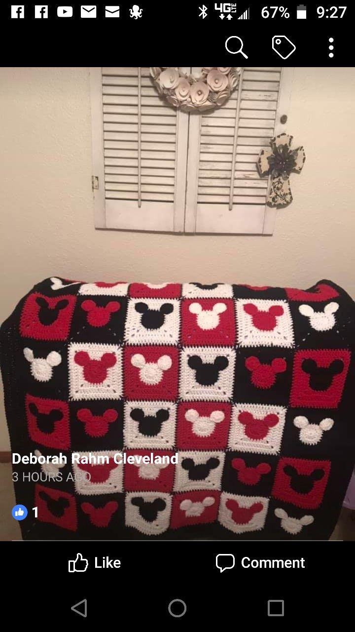 Mickey Mouse Crochet Blanket   Crochet mickey mouse ...