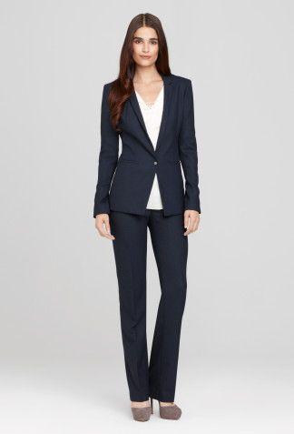 Birdseye Pant Suit By Elietahari Structured Versatile Navy Black