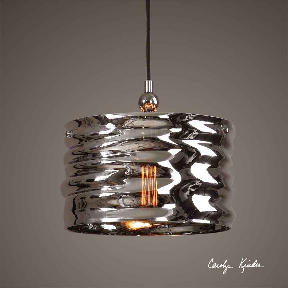 Uttermost Aragon 1 Light Nickel Glass Pendant With Images Ceiling Pendant Lights