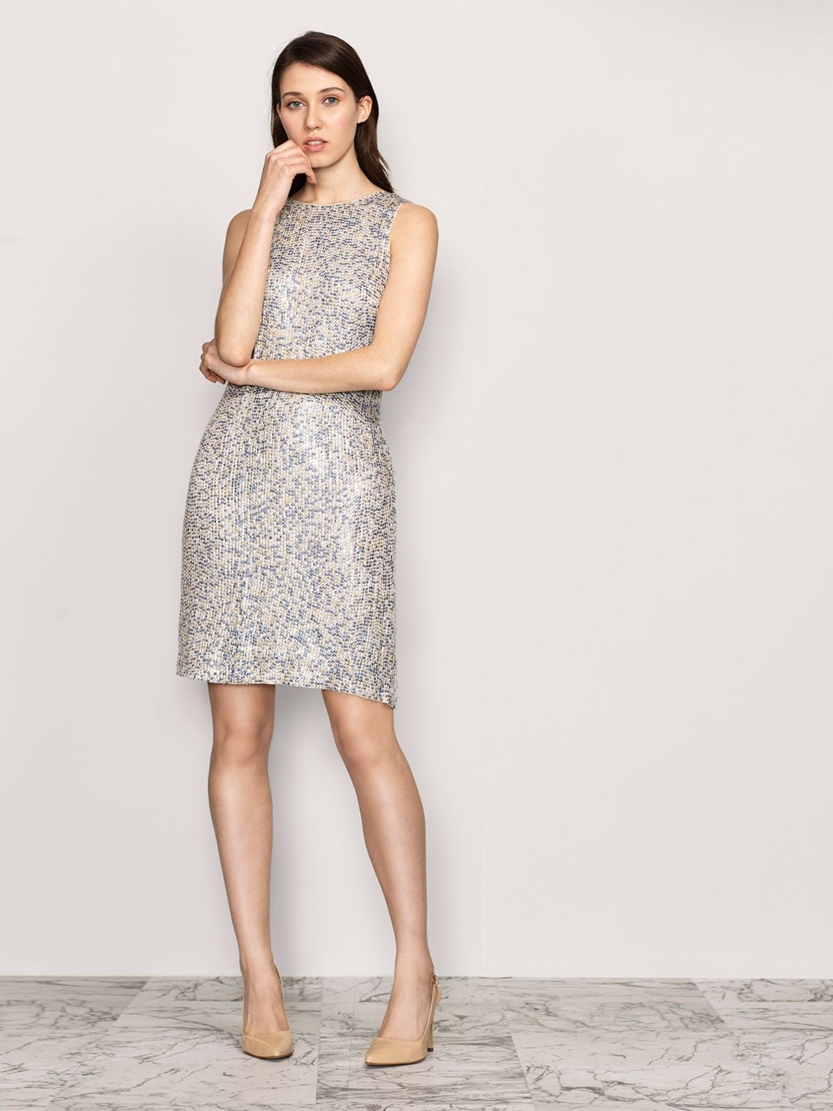 vestido corto lentejuelas sin mangas coleccion javier ...