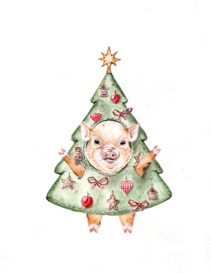 знать рисунок новогодней свинки открытка рыжеволосая красотка