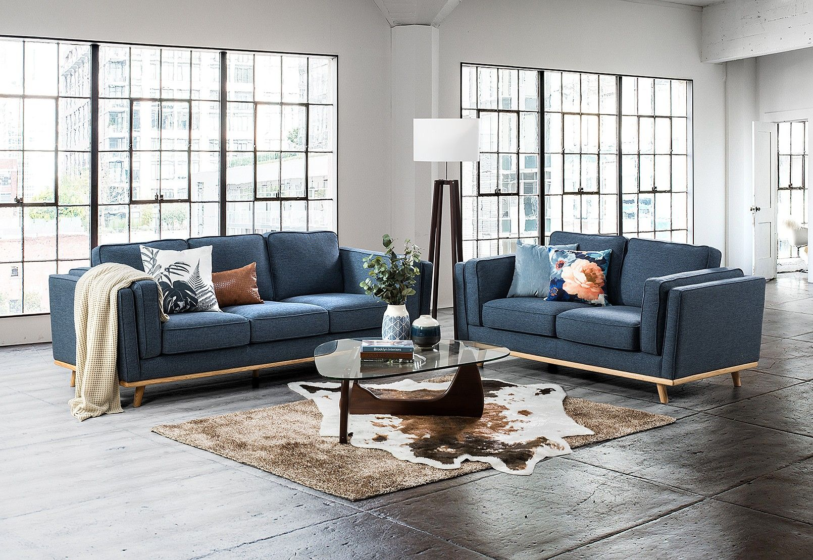 Navy Couch Sofa Pair Furniture Gray Sofa