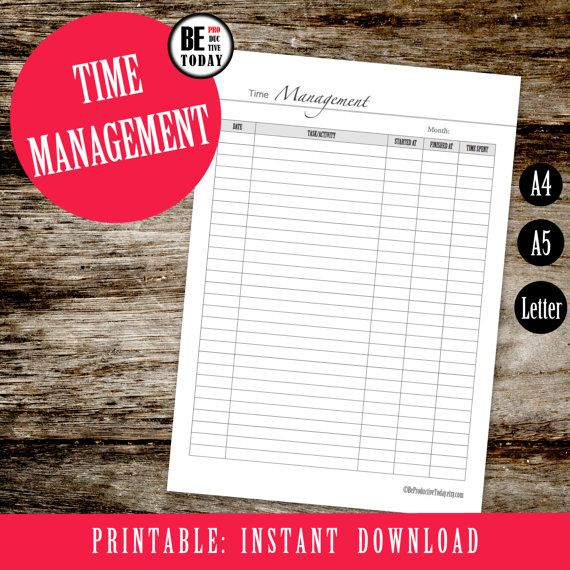 Monthly Time Management, Printable Time Tracking Page, Project - time tracking template