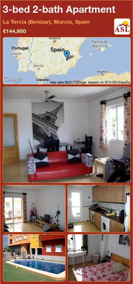 3-bed 2-bath Apartment in La Tercia (Benizar), Murcia, Spain ►€144,950 #PropertyForSaleInSpain