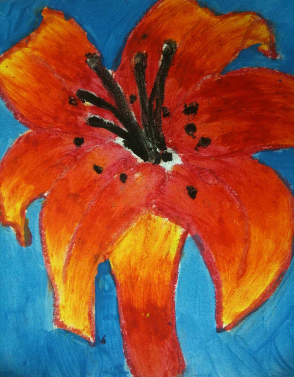 A Garden Of Flowers Blending Colors Using Oil Pastels