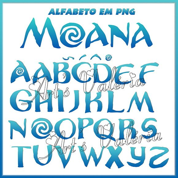 Famosos Alfabeto Azul Moana em PNG | Moana, Moana party and Moana birthday GC27