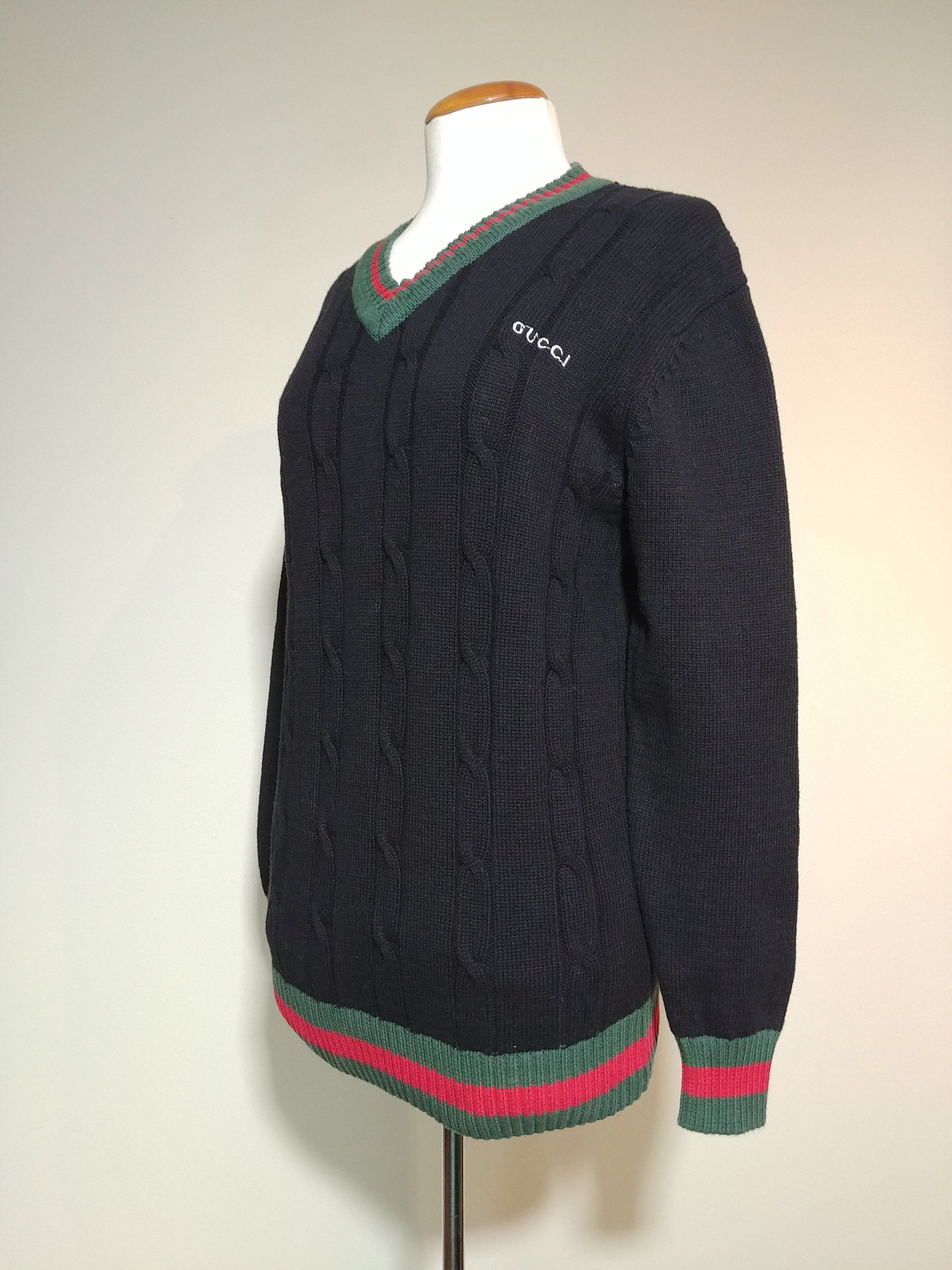 85781b44366ee7 Vintage Gucci Bootleg Men's Sweater, 90s Cotton Knit Gucci Knockoff V Neck  Pullover, Hip