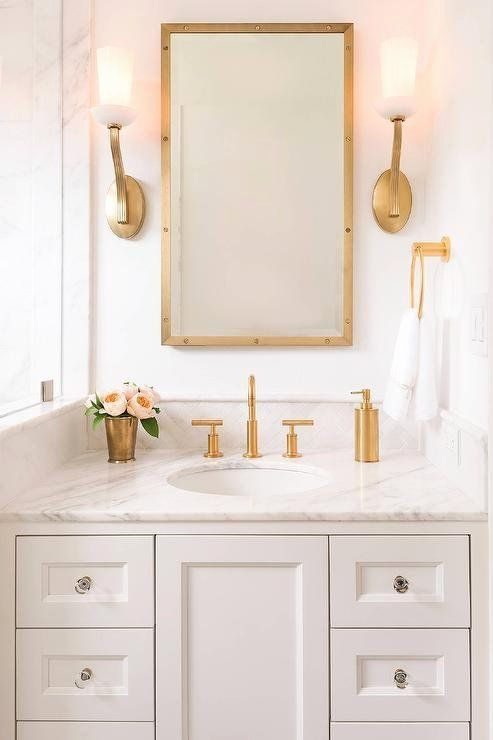 Photo of White and Gold Bathroom Ideas Fresh White Vanity with Brass Up Light Wall Sco …