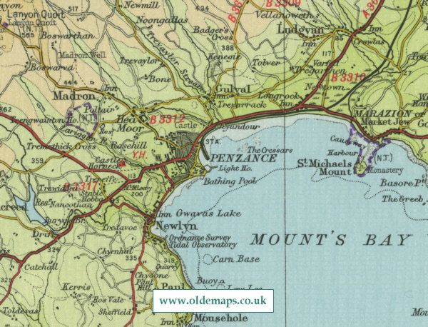 penzance old map of the cornish port of penzance england showing detailed maps of penzance as it was in the mid twentieth century