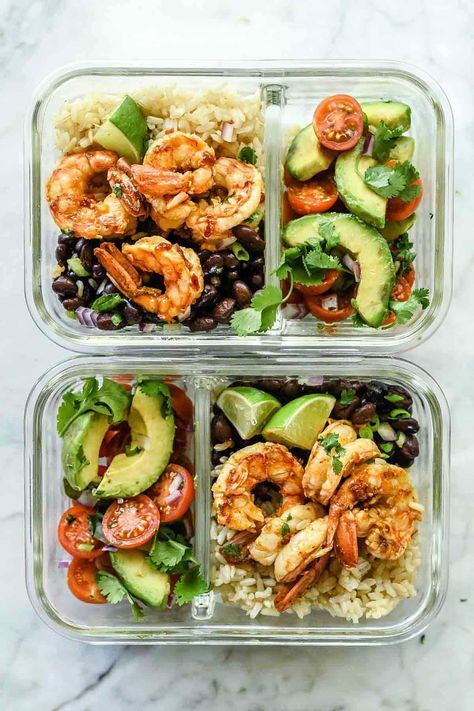 Photo of Shrimp Meal Prep Bowl- you can use any protein you want with healthy fats and ve…