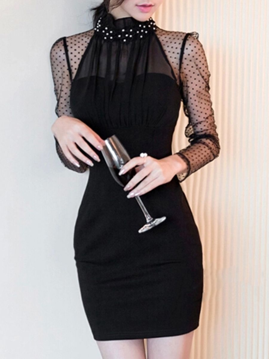 Sexy black seethrough band collar beading bodycon dress bodycon