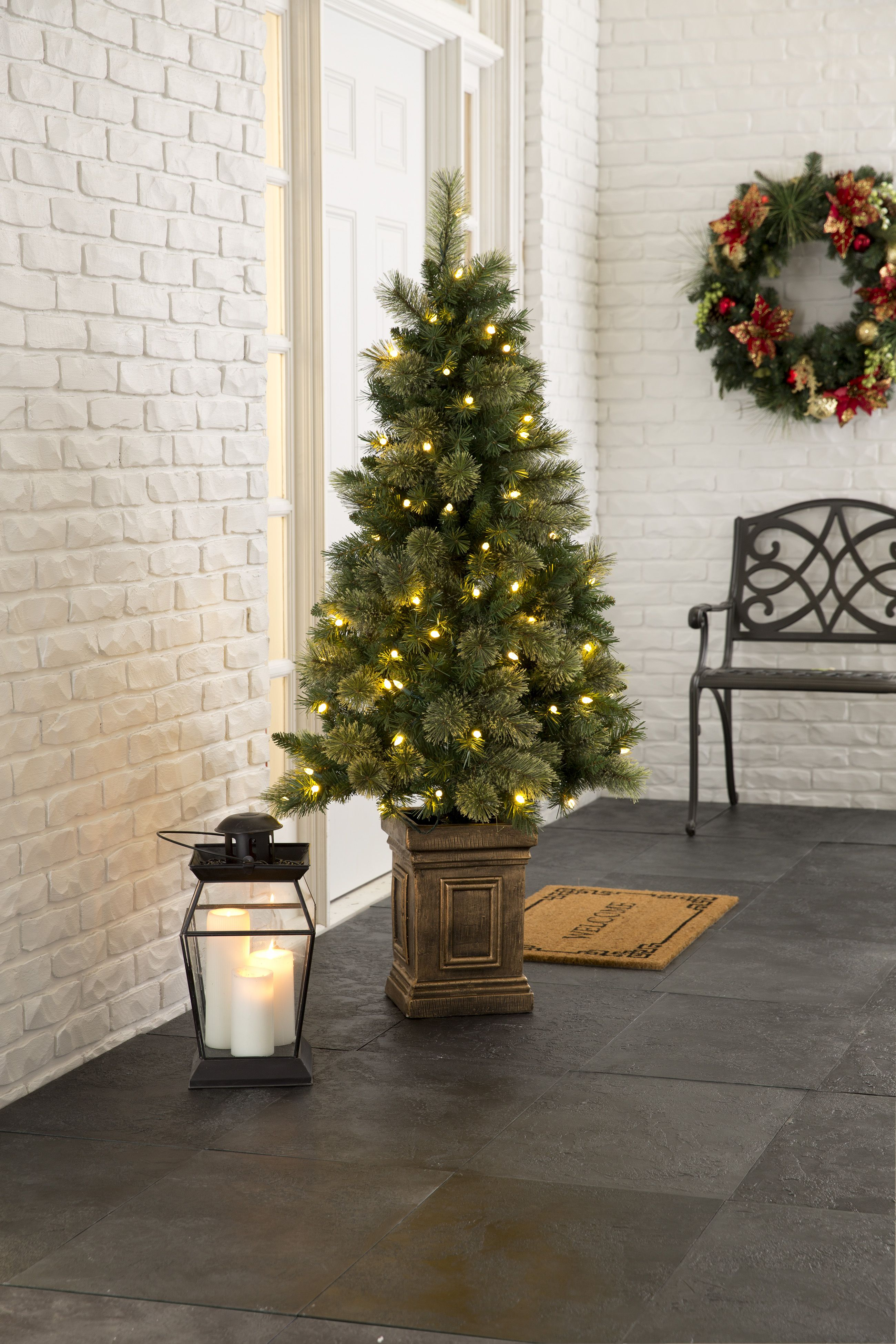Biltmore Porch Trees Pre Lit Christmas Tree Outdoor Holiday Decor